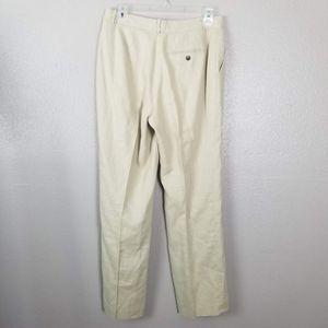 Lauren Ralph Lauren Pants & Jumpsuits - Lauren RL Tan High Rise Linen Straight Leg Pants 6